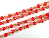 3ft Red Beaded Chain Gold Plated Transparent Faceted Glass Rondelle Beaded Rosary 7x5mm - 39 inch - STR9088CH-RDG39