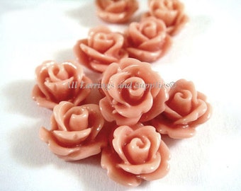 BOGO 10 Rose Flower Cabochon Salmon Resin Flower Bead 10mm - No Holes - 10 pc - CA2006-SN10 - Buy 1 pk, Get 1 Free - No coupon required
