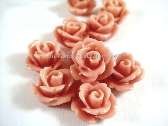 BOGO 10 Salmon Rose Flower Cabochon Resin Bead 10mm - No Holes - 10 pc - CA2006-SN10 - Buy 1 pk, Get 1 Free - No coupon required