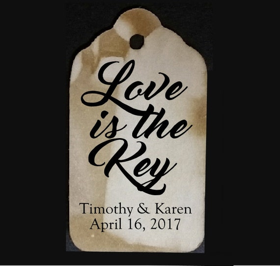 Love is the Key favor tag MEDIUM Tags Personalize with names and date Choose your Quantity MEDIUM
