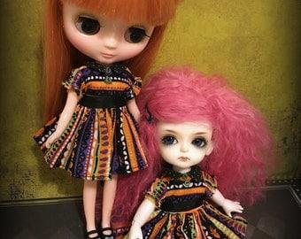 Blythe Middie Spooky Stripes Dress, Lati Yellow, Pukifee