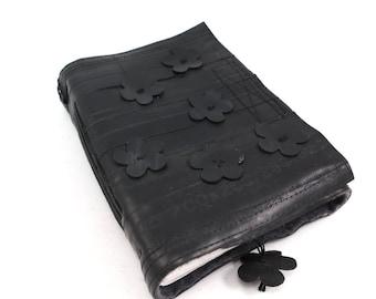 Notebook, bike inner tube, recycled vegan handmade blank, medium grey felt linen velcro closure cut out flowers