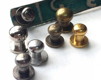 Qty 4 ~ Button Stud and Post Silver or Brass Finish 6mm or 8mm