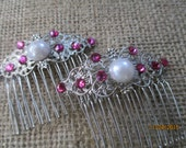 Fuchsia Swarovski Crystals Hair Combs  2 Hair Combs   Weddings   Parties   Events  Vintage Style