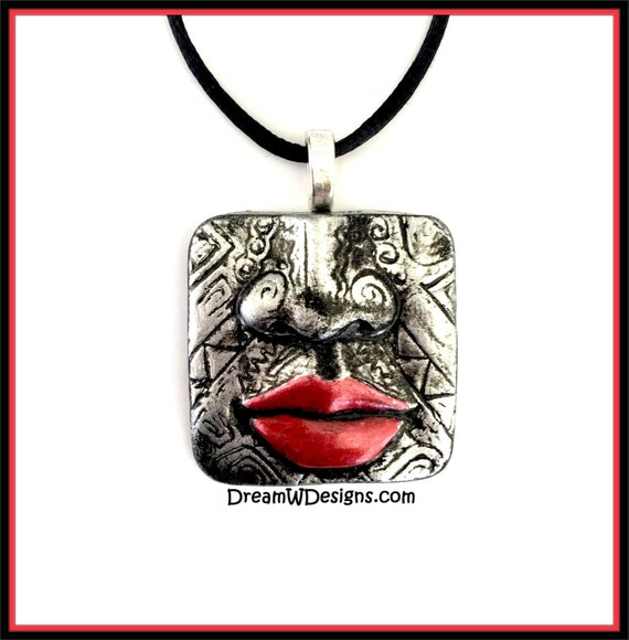 Tribal Face Necklace / Tribal Face Pendant /Face Necklace / Face Pendant / Boho Necklace / Boho Pendant/ Lips Pendant/ Lips Necklace