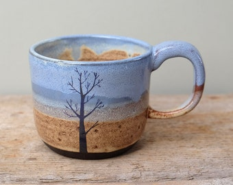 Blue Tree on Beach Mug