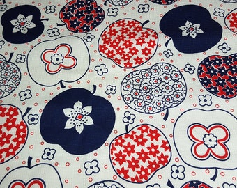 SALE vintage 60s mod textured novelty fabric featuring red, white and blue apple print, 1 yard, 2 available priced PER YARD