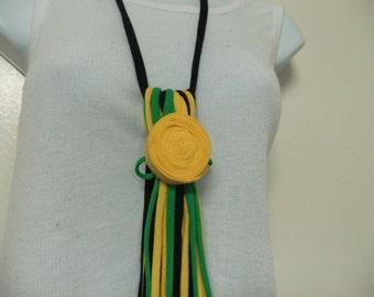 Long Fringe Fabric Tassel Necklace Multi Strand Necktie Style Statement Necklace Removable Rosette