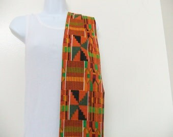Kente Print Fabric Stole Sash Choral Robe Clergy Scarf Neck Scarf Head Wrap Graduation Stole Made-to-Order