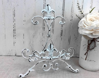 Cast iron easel, painted table top easel, photo display, sign holder, book & cookbook stand, distressed decor, cottage chic, French country