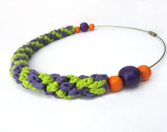Crochet necklace,fiber necklace,cotton necklace,textile necklace,knot necklace,scooby doo,summer,acid green,lavender,vegan,giada cortellini