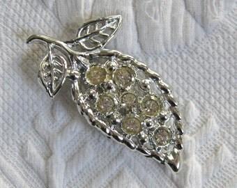 Rhinestone Leaf Pin . leaf brooch . rhinestone leaf brooch .  Rhinestone silver Leaf Brooch