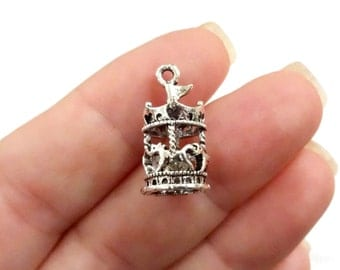 4, Carousel, Merry-Go-Round, Horse, 3D Charms 20x10x10mm