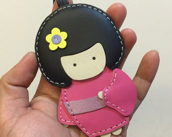 Big size - Sakura the Geisha Doll cowhide leather charm ( Fuschia )