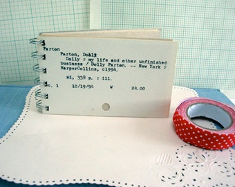 Library Card Notebook, Recycled Library Card Catalog Notebook / School Gift, Reader Gift