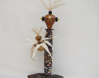 Indian Corn Mother and Niblet blessing gourd figure