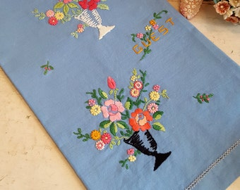 Embroidered Linen Tea Towel Blue With Pink Orange Flowers Floral
