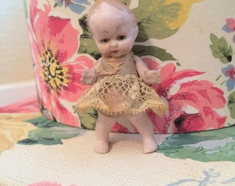 Antique German Tiny Bisque Miniature Girl Toddler Doll with Lace Dress