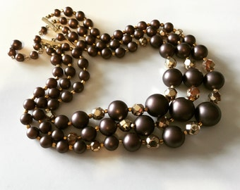 Vintage Mid Century JAPAN 3 Strand Necklace Coffee and Gold
