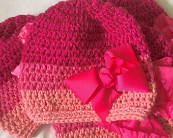 Crochet Hat, Hot Pink, Medium Pink, Coral, Handmade Beanie with matching bow