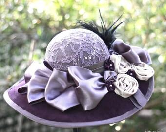 Wide Brim Hat,Victorian Hat, Edwardian Hats, Velvet Hat,Hat with Feathers,Lace Hat, Downton Abbey Hat,Tea Party Hat,Special Occasion Hat