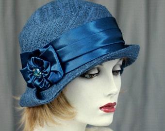 Hat Downton Abbey 20's Cloche Hat in  Designer Tweed Blue Fabric