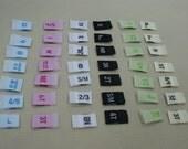 200 Premium Woven Label size tag Combo 2T, 3T, 4T, 5, 6, 7, 0-3 m, 0-6 m, 3-6 m, 6-9 m, 6-12 m, xxs, xs, s, m, L,and More Choose ur sizes