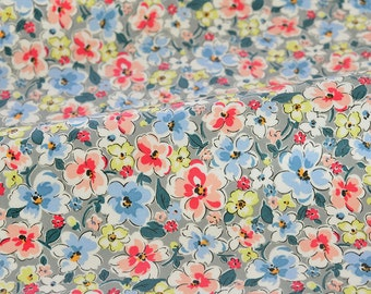 4241 - Cath Kidston Orchard Blossom (Light Grey) Oilcloth Waterproof Fabric - 28 Inch (Width) x 17 Inch (Length)