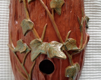 Terracotta Ivy Log Wall Sconce functions as Planter/Birdhouse