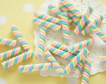 8 pcs Polymer Clay Twisted Candy Miniature (5mm 25mm) New color CD645