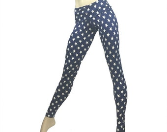 Super Hero Pants Blue Stars Legging Fold Over Low/High Rise SXYfitness Brand Item 8560 Sizes xxs-xxl (00-18 US) made in the USA
