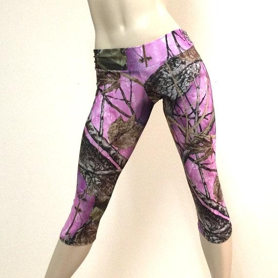 Camo Pants Pink Camouflage Hot Yoga Capri Pants Low Rise