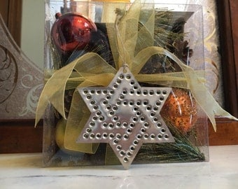 Star of David Chrismukkah Ornament  Silver Tin Old Fashioned Tin Punch Hand Cut By West Tinworks