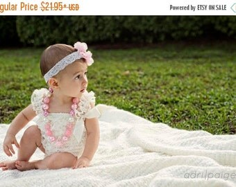 SALE Baby Lace Romper Ivory and Pink Headband Necklace SET, Pink and Cream Petti Romper And Baby Headband, Baby Outfit, Baby Photo Prop