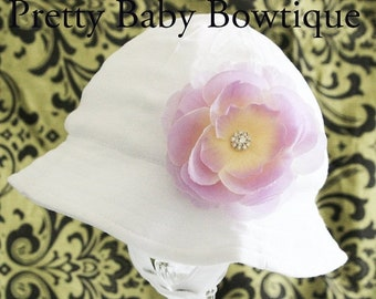 SALE Baby Girl Sun Hat - Easter Bonnet - Bucket Hat - (Removeable) Lavender Flower Clip With White Sun Hat- Fits (You Pick Size)