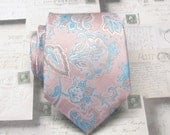 Mens Ties Dusty Pink Blue Orange Paisley Mens Silk Necktie Wedding ties. With Matching Pocket Square Option