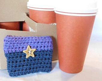 Purple and Dark Blue Two Tone Single Cup Cozy #8222016