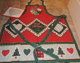 Merry Christmas from the  Heart Apron and One Pot Holder