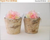 Birch Flower Girl Baskets with Ribbon Handle (Set of 2)