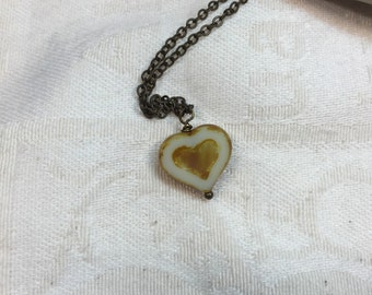 ivory heart necklace, Romantic jewelry, Valentine day gift, bridesmaid gift, heart jewelry, heart necklace