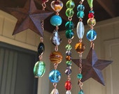 Suncatcher with Glass Beads, Crystals, Copper, and Rusty Tin Stars