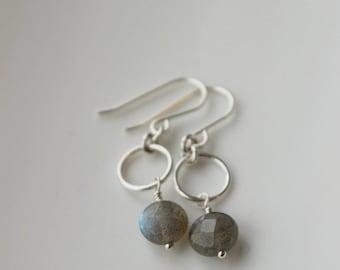 On SALE / CIJ Sale / Labradorite Stone Earrings, Grey Fog, Sterling Silver Earrings, Silver Rings, Drop Earrings, Gray