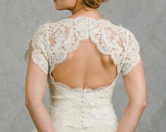 Keyhole Wedding Dress Topper - Keyhole Topper - Wedding Dress Bolero - Charlotte