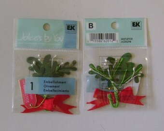 SALE - 5 Mistletoe Embellishments - Jolees By You - NIP
