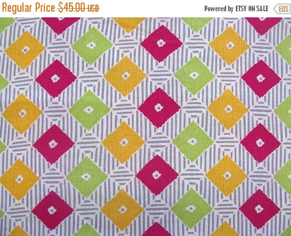 NOW ON SALE vintage fabric yardage - pique - grey stripe with diamonds - 36x135 inches