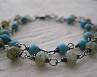 Labradorite & Turquoise Bracelet- Double Strand Sterling Silver, Wire Wrapped, Oxidized, Gemstones, Rustic