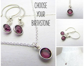 Birthstone Necklace and Earring Set in Sterling Silver by Eriadesigns