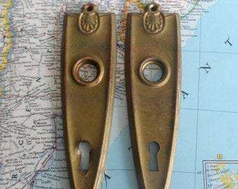 SALE! 2 vintage distressed metal doorplates for doorknobs decor projects