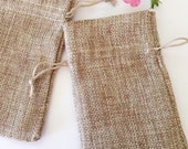 48 SMALL Natural Oatmeal Burlap Bags Brown Pouch Pouches Jewelry Party Favors 2 7/8 x 4 Linen Packaging Fabric