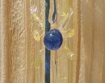 Hanging Glass Incense Burner with Cobalt Blue Center Sunburst Symbol 5